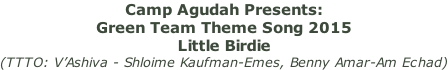 Camp Agudah Presents:  Green Team Theme Song 2015 Little Birdie  (TTTO: V'Ashiva - Shloime Kaufman-Emes, Benny Amar-Am Echad)